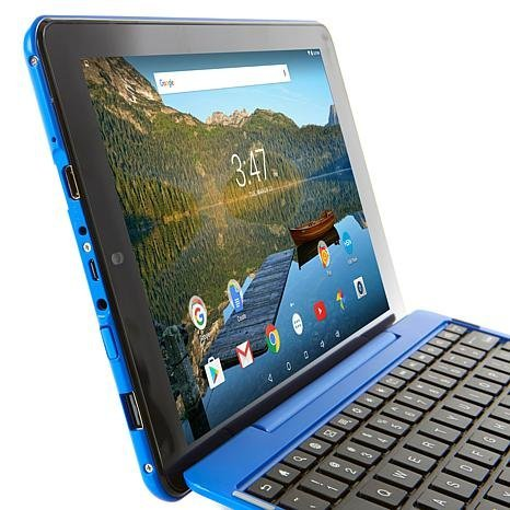 RCA Viking Pro 10 2-in-1 Tablet 32GB Quad Core Blue Laptop Computer with Touchscreen and Detachable Keyboard Google Android 6.0