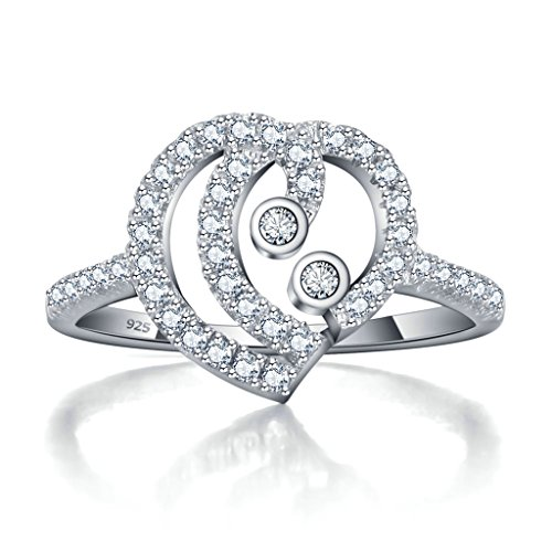 925 Sterling Silver Ring, Women's Wedding Bands Silver Hollow Out Heart Design CZ Size 7 - In Az Outlets Phoenix