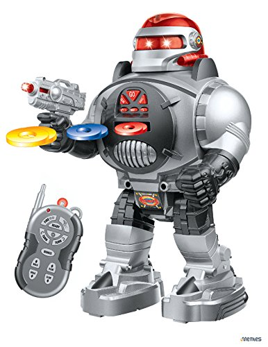 Memtes Remote Control Robot Toy, Shoots Soft Rubber Discs, Flashing Lights and Sound, Walks, Talks, and Dances by Memtes