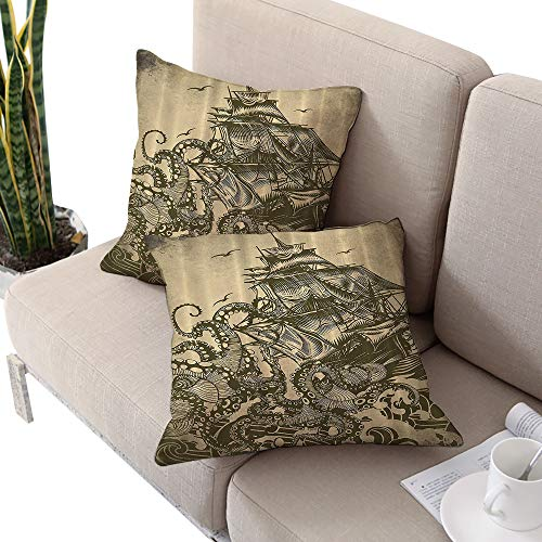 Ocean Sail Boat Waves and Octopus Kraken Tentacles Country Decorations for Bathroom Sepia Print Square futon Cushion Cover,Yellow Olive W20 xL20 2pcs Cushion Cases Pillowcases for Sofa Bedroom Car