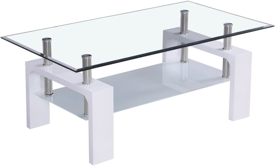 corium] Mesa de centro (100 x 50 x 45cm) (tablero de cristal ...