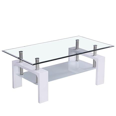 [corium] Mesa de centro (100 x 50 x 45cm) (tablero de cristal) (blanca) mesa de salón - mesa auxiliar - brillante