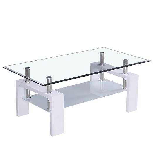 Corium Couchtisch - Wohnzimmertisch 100 x 50 x 45 cm Glasplatte ...