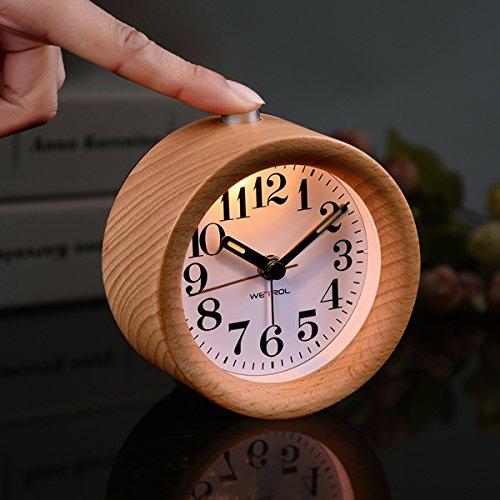 From USA ★ YIDULA Classic Silent Small Wood Alarm Clock ...