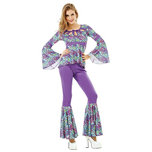 70's Theme Party Costume (Disco Diva Women's Halloween Costume Foxy 70's Night Fever Funky Boogie Dancer, Purple, Large)