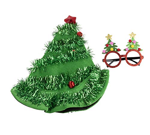 Christmas Party Costume Accessories - 2-Piece Set Christmas Tree Hat and Festive Eyeglasses, Holiday Outfit, Gag Gifts, White Elephant -