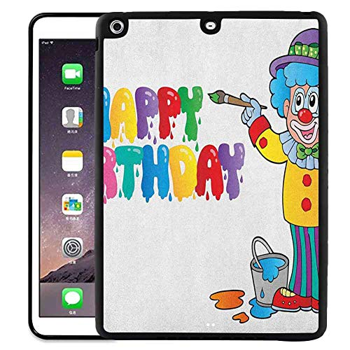 - Shockproof Case Compatible with iPad 5 (2013), iPad 5 [2013] [9.7-Inch] Kids Birthday,Happy Clown for Party with Colorful Painting Drawing Style Buckets Print, Multicolor