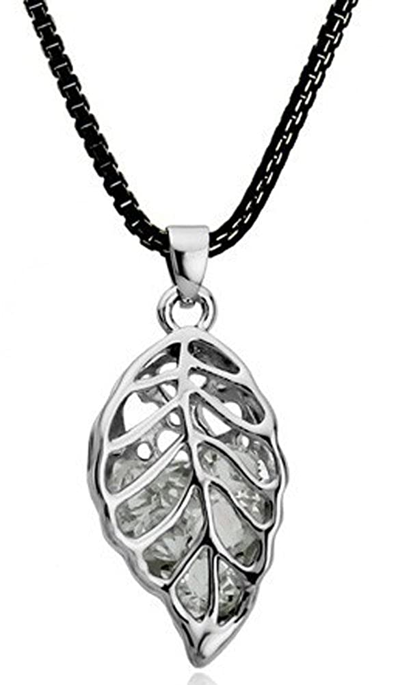 Richy-Glory 18K Rose Gold Plated Zirconia Crystal Hollow Leaf Necklaces