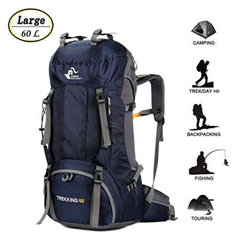 60L Waterproof Ultra Lightweight Hiking Backpack with Rain Cover,Outdoor Sport Daypack Travel Bag for Climbing Camping touring (Navy Blue)