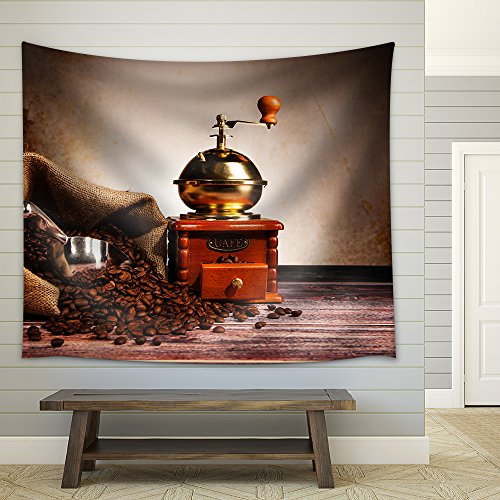 Coffee Still Life with Wooden Grinder Fabric Wall Tapestry