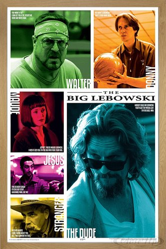 Close Up The Big Lebowski Poster Zitate X Cm Gerahmt In