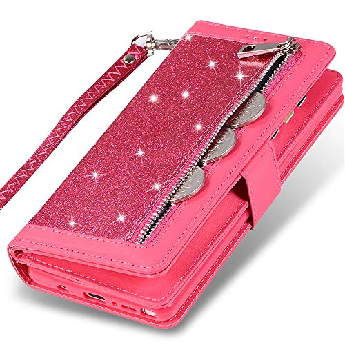 Kudex Galaxy Note 8 Wallet Case for Women,Bling Glitter Flip Leather Zipper Money Pocket Wallet Purse Case [Kickstand] with 9 Cards Holder Magnetic Closure&Strap for Samsung Galaxy Note 8 (Rose)