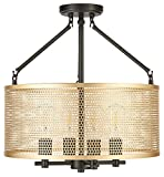 Gianna Chandelier Hanging Light   Black w/Antique Brass Pendant Light with LED Bulbs LL-CL806-7SBK