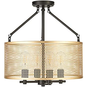 Gianna Chandelier Hanging Light | Black w/Antique Brass Pendant Light with LED Bulbs LL-CL806-7SBK