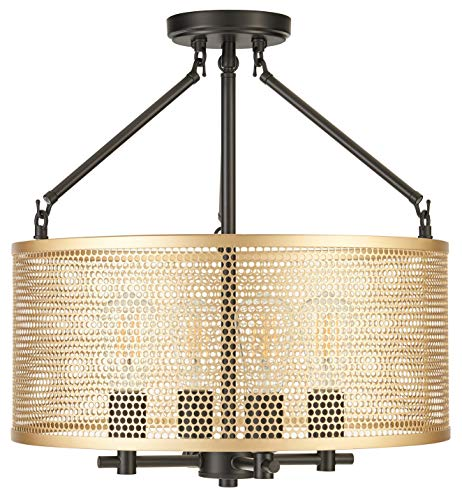 Gianna Chandelier Hanging Light Black w Antique Brass Pendant Light with LED Bulbs LL-CL806-7SBK