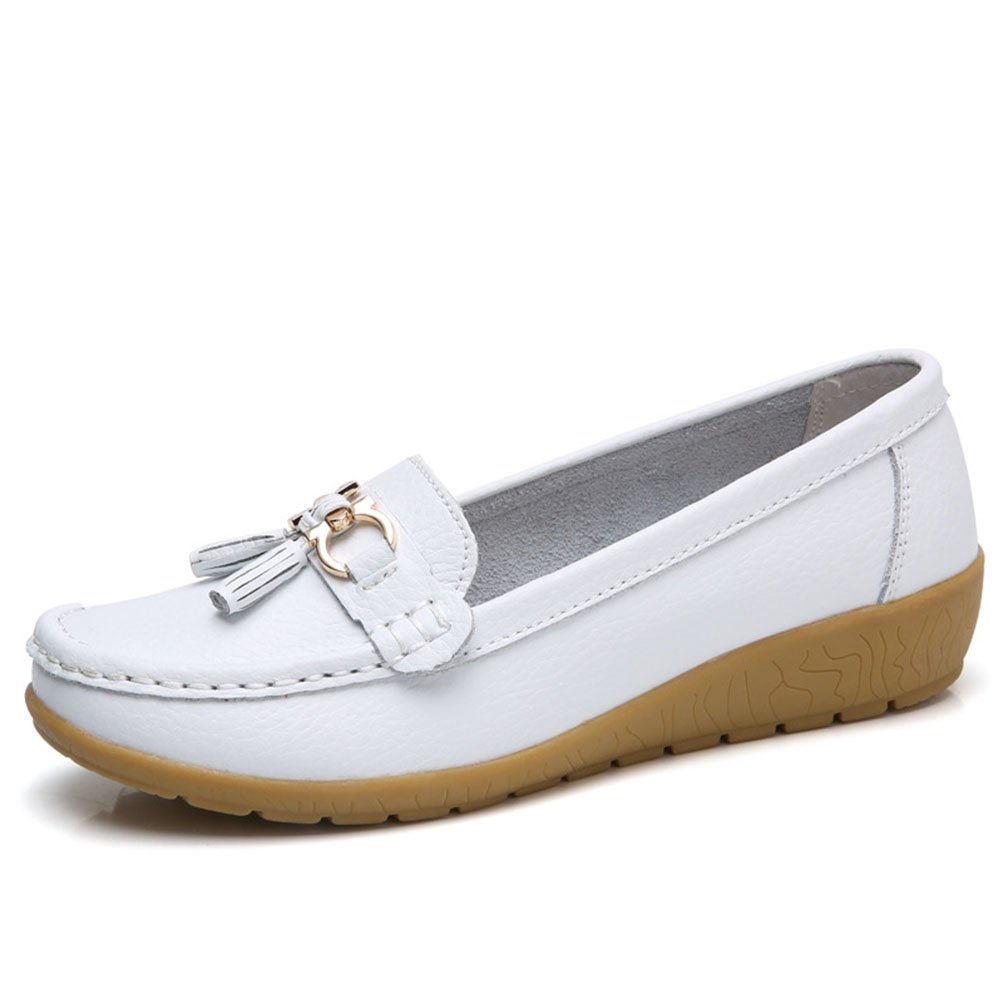 b2a5754aa037 Mordenmiss Women s Wedge Nurse Shoes Tassel Penny Loafers Driving Flat 40  White