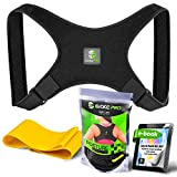Posture Corrector and Resistance Band Set by Evoke Pro – FDA Approved Posture Brace and Spine Corrector Device that Prevents Slouching and Provides Clavicle Support (Regular)