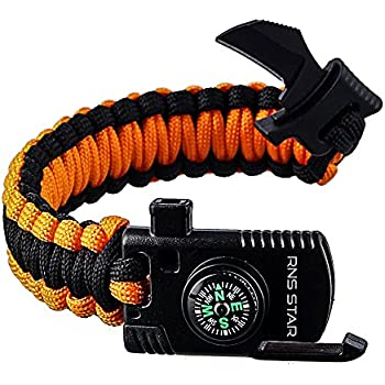 Paracord Survival Bracelet 500 LB - Hiking Gear Travelling Camping Gear Kit - Parachute Rope Bracelet,Compass Stone,Stainless Fire Scrapper,Flint Fire Starter,Survival Knife,Whistle By RNS STAR