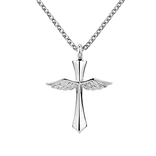 Amazoncom Lovelycharms Cross Angel Wings Urn Necklace For Ashes