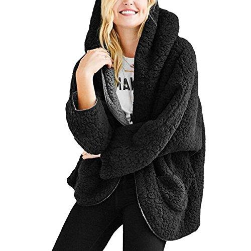 Femmes Manteaux  Capuche Peluche Mode Manches Longues Coat Cardigan en Automne/Hiver avec Poche (Color : Black, Size : M)