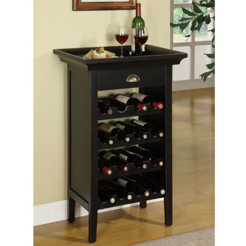 Powell Black with Merlot Rub through Wine Cabinet by Powell