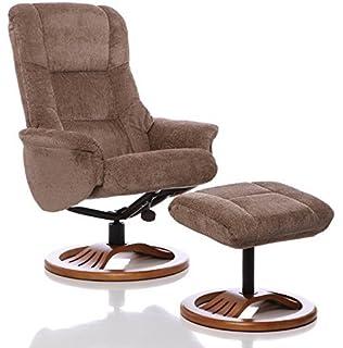 The Mandalay   Chenille Fabric Recliner Swivel Chair U0026 Matching Footstool  (Mink)