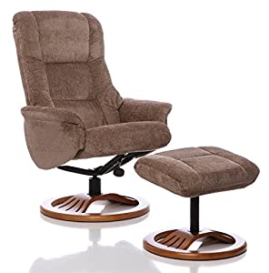 Oriental Leather Co Ltd Sillón The Mandalay - silla giratoria reclinable de tela y reposapiés a juego en en color Visón