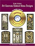 Full Color Art Nouveau Stained Glass Designs, Dover Staff, 0486995674