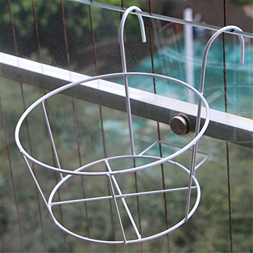 Iron Art Balcony Wall Railing Hanging Outdoor Guardrail Window Sill Flower, White Plant Multifunctional Flower Display Stands Wood Pot Shelf Storage Rack Outdoor Indoor Pots Holder Thanksgiving - Rail Holder Guard