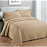 """Fancy Collection 3pc Luxury Bedspread Coverlet Embossed Bed Cover Solid Taupe New Over Size 118""""x106"""" King/California King"""