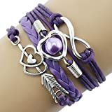 Fashion Bracelets, UMFun 1PC Infinity Love Heart Pearl Friendship Antique Leather Charm Bracelet (Purple)