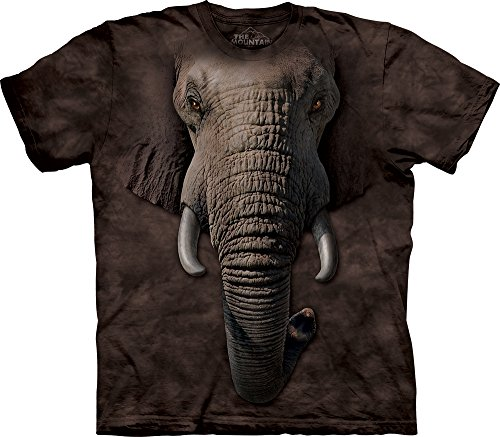 Dark Brown Face (The Mountain Men's Elephant Face T-shirt, Dark Brown, Medium)