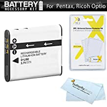 Battery Kit For Pentax Optio WG-1, WG-2, WG-3, WG-3 GPS, Ricoh WG-4 GPS, WG-4, WG-30, WG-30W, WG-5 GPS Waterproof Digital Camera Includes Extended Replacement D-LI92 Battery + Screen Protectors ++