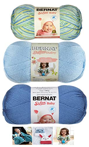 Bernat Softee Baby Acrylic Yarn 3 Pack Bundle Includes 3 Patterns DK Light Worsted #3 (Aquarium Blue - Dk Pattern