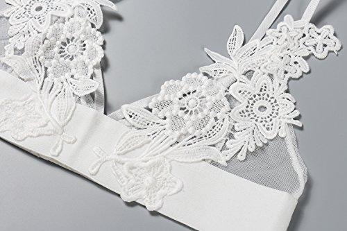 Bellismira unpadded mesh triangle strappy bralette embroidered
