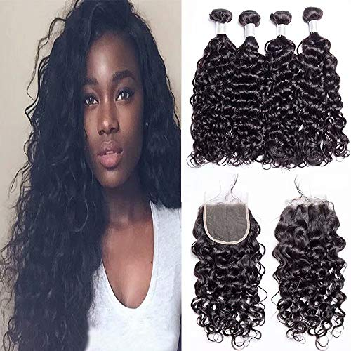 Maxine Water Wave Bundles With Closure Peruvian Water Wave Human Hair With Frontal Closure Natural Color Virgin Hair 4 Bundles With 4x4 Free Part Lace Closure(14 14 16 16 with 12)