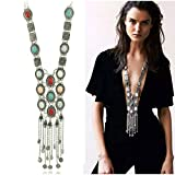 SUNSCSC Vintage Retro Rhinestone Silver Gold turquoise Long Boho Bohemian Statement Necklace for Women (Silver)