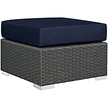 modway sojourn outdoor patio rattan ottoman with sunbrella brand navy canvas cushions