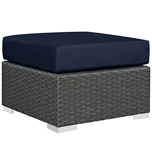 Modway EEI-1855-CHC-NAV Sojourn Wicker Rattan Outdoor Patio Coffee Table, Ottoman Navy