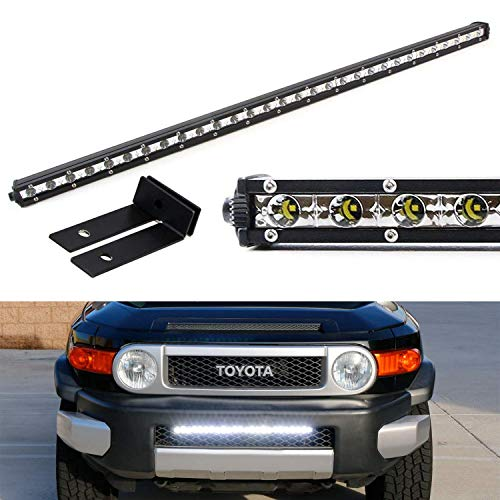 iJDMTOY Behind Lower Grille Mount 25-Inch LED Ultra Slim Light Bar Kit For 2007-2014 Toyota FJ Cruiser, Includes (1) 72W High Power LED Lightbar & Behind Lower Grill Mounting - Cruiser Fj Trd
