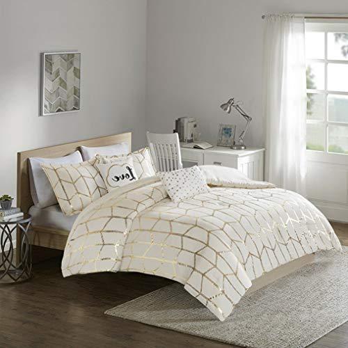 Kaputar New! ~ Modern Chic Ivory Gold Geometric Chevron Stripe Cozy Comforter Set | Model CMFRTRSTS - 2918 | Twin