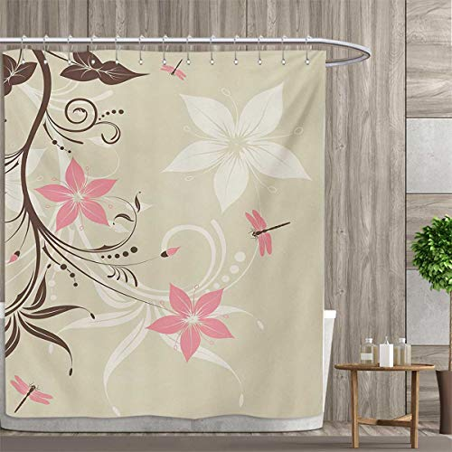 (Dragonfly Shower Curtain Collection by Floral Background with Dragonflies and Spiral Fashioned Foliage Bud Elements Print Patterned Shower Curtain 66