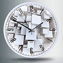 """Artistry Clock-Modern Decorative 12"""" Silent Non-Ticking Wall Clock And Fashionable Style Design Quartz Round Clock With Stoving Varnish Finished Metal Frame,Battery Operated(Mystery Maze,White)"""
