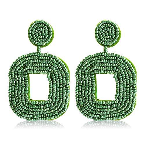 Earrings Bead Long Wire - Women's Beaded Tassel Earrings Long Fringe Drop Bohemian Earings Dangle 7 Colors (Square-Turkey blue Small)