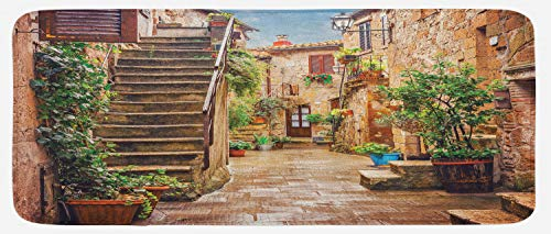 House Street Old (Ambesonne Italian Kitchen Mat, View of Old Mediterranean Street with Stone Rock Houses in Italian City Rural Print, Plush Decorative Kithcen Mat with Non Slip Backing, 47