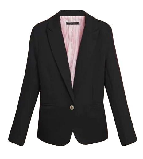 8a174c109eb67 Jofemuho Womens Pure Color Slimming One Button Workwear Blazer Jacket Black  US L
