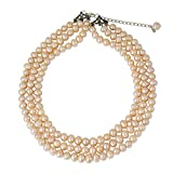 NOVICA Peach Cultured Freshwater Pearl .925 Sterling Silver Bridal Necklace, 18'' 'Triple Halo'