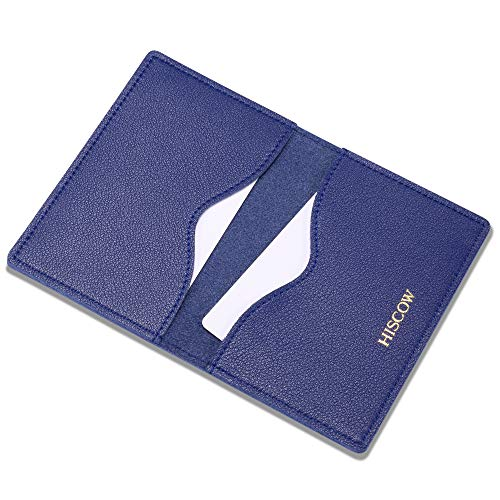 - HISCOW Minimalist Thin Bifold Card Holder - Italian Calfskin (Electric Blue)
