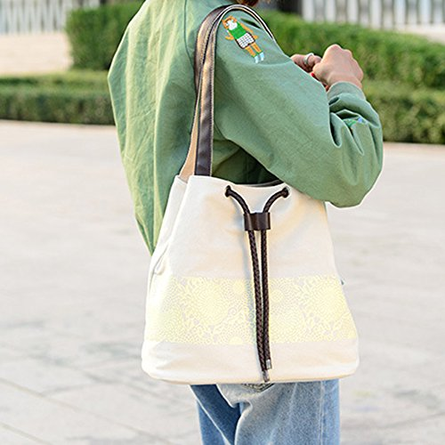 Main Youthny Bandouliere Femmes Canvas Sac à Provisions Beige Rétro Tote Casual wCgSq