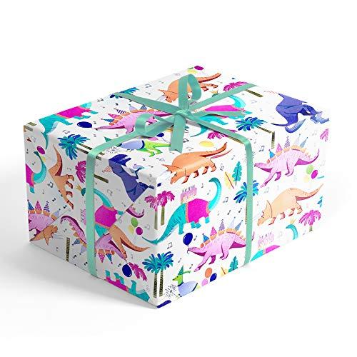 (Party Dinosaurs Children's Premium Folded Wrapping Paper, 2' x 10' Jurassic Dinosaur Birthday Folded Gift wrap, RevelTM)